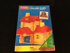 Playskool Lincoln Building Logs House Wooden - Vintage 1992 (69 pieces) Nib