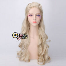 Anime for A Song of Ice and Fire Daenerys Targaryen Curly Blonde Cosplay Wig