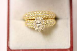 916/22ct sparkling indian gold size J 1/2 engagement/wedding ring set *Boxed*