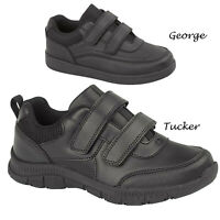 Boys Black School Shoes Kids Touch Strap Sports Gym PE Work Out Trainers Sizes