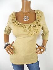 INC Womens Top XL Beige Gold Metallic Shirt Stretch Blouse Casual 3/4 Sleeves