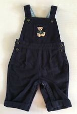 NWT Janie & Jack 0-3 Months Teddy Bear Holiday Blue Moleskin Overalls