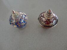 Two  9cm tall Gold, Blue & Burgandy etc  Thai Benjarong Lidded Pots