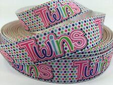 "BTY 7/8"" Baby Shower Twins Grosgrain Ribbon Scrapbook Diaper Cake Lisa"