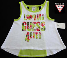 NWT GUESS Girls White & Green Sleeveless Top with Heart Design(Size 3T) NEW