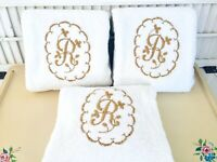 "Vintage DUNDEE White 100% Cotton Bath Towels MONOGRAM ""R"" IN GOLD Set of 3"