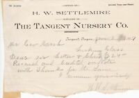 U.S. The Tangent Nursery Co. Oregon 1909 Check Recd & Credited Letter Ref 42787