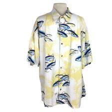 Guy Harvey Hombres XL Aleta Amarilla Atún Hawaiian Camp Aloha Camisa Relajado