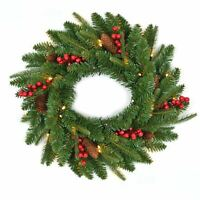 55cm Pre Lit Christmas Wreath Garland Wall Hanging Decoration Pine Cones Berries