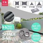 HEAVY DUTY SUN SHADE SAIL GARDEN PATIO AWNING CANOPY 98%UV PROTECT WATERPROOF UK
