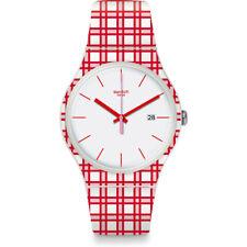 Orologio Swatch PIKNIK SUOW401 GOMMA watch uomo SILICONE TARTAN BIANCO ROSSO