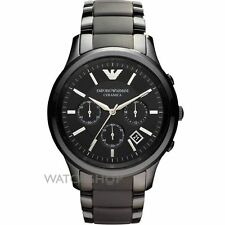 NEW EMPORIO ARMANI AR1452 BLACK CERAMIC CHRONOGRAPH MEN'S WATCH - CERAMICA 1452