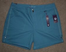 New Gloria Vanderbilt 16 Shorts Steel Blue Slimming Khakis Cotton Stretch