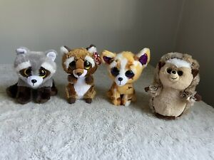 Beanie Boo Lot Ida Rusty Pablo Bandit Hedgehog Raccoon Fox Chipmunk