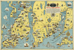 "1930 Pictorial Art Map 11""x16"" Mount Hope Bridge, Bristol, Rhode Island, Newport"
