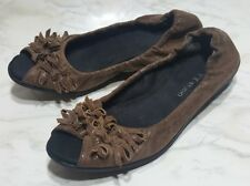 FLEXX STUDIO BALLET FLATS SIZE 7 B OPEN TOE WOMENS SLIP ON BROWN SHOES