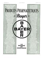 Publicité ancienne produits pharmaceutiques Bayer 1935 issue de magazine