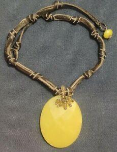 Faceted Jade Serpentine/Citrine (?) Pendant Necklace Crystals Black Leather EUC