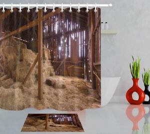 "Rustic old Barn Floor Straw Hay Hayloft Waterproof Fabric Shower Curtain Set 72"""