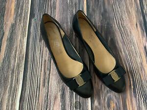 Women's Salvatore Ferragamo Black VERA BOW Low Heel Slip On Shoes Size 8.5