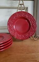 EXC~*5~RARE ACCENT RED~American Atelier HOLLY BERRY EMBOSSED Salad Plates~8 5/8""