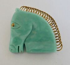 Vintage French Galalith Plastic & Wire Large Mint Green Horse Head Pin Brooch