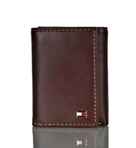 Tommy Hilfiger Men's Genuine Leather Trifold Wallet with Interior Zipper Tan