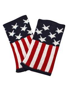 AMERICAN FLAG PRINT KNIT BOOT CUFF LEG WARMERS
