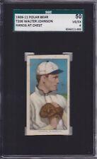 Walter Johnson (Hands at Chest) 1909 T206 Polar Bear Baseball Card SGC 50 VG/EX