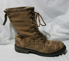 Roxy Surf Concord Womens 6.5 M Brown Distress Suede Canvas Lace up Combat Boots