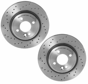 Brembo Xtra Pair Set of 2 Front X-Drilled Brake Disc Rotors for Mini R50 R52 R53