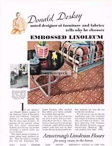 1931 Armstrong Cork Co. Linoleum Floors Embossed Vintage Ad