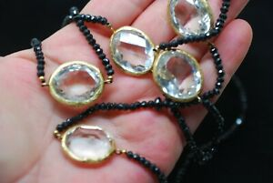 Antique Victorian JET Crystal bead Long necklace Gilt on Sterling Silver