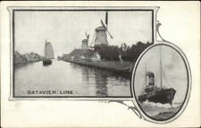 Batavier Line Steamships Holland View & Ship Overprint Advertising on Back PC