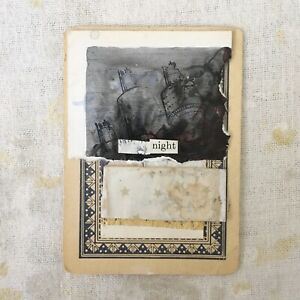night - original art mixed media collage playing card unframed