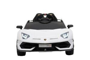 Kinder Elektro Auto Lamborghini Aventador SVJ, weiß, Leder EVA etc.! Neu & Ovp!