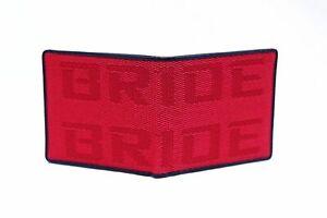 BRIDE JDM Seat Red Gradation Logo XL Dark Bordered Wallet Custom Leather