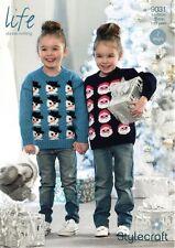 Stylecraft Childrens Christmas Jumper Life DK Yarn Knitting Pattern 9031