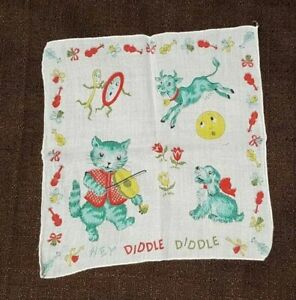 Vintage 1950's Children's Hey Diddle Diddle Fairy Tale Story Hankie