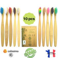 Pack 10 Brosses à Dents Bambou Biodégradable Ecologique Poils Souples Sans bpa