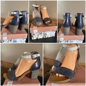moda in pelle stunning navy leather sandals buckle fastening block heel size 40