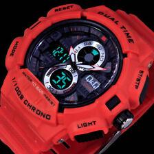 Q&Q by Citizen Analog Digital Herren Armband Uhr Rot Chronograph 2 Werke 10 Atm