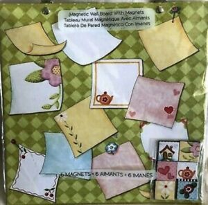 Mary Engelbreit Magnetic Message Board Wall Hanging W/6 Magnets Teapot Flowers