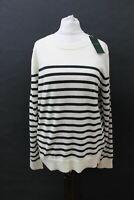 HOBBS Ladies Penny Ivory Khaki Merino Wool Striped Long Sleeve Sweater M NEW