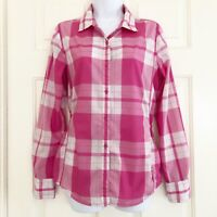 The North Face Womens Shade Me Long Sleeve Shirt Cinch Waist Pink Plaid Sz M