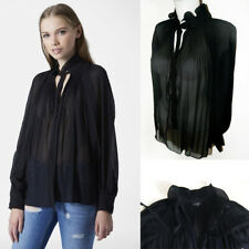 Topshop Black Semi Sheer Blouse Top High Neck Collar Pleated Pussybow Size 10