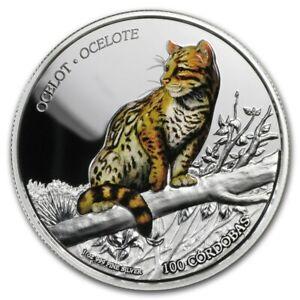 2018 - 1 OZ Silver Proof Coin - Wildlife of Nicaragua  Ocelot