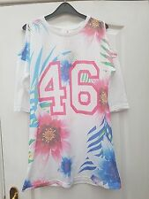 ATMOSPHERE WHITE USA FOOTBALL JERSEY PINK BLUE 46 FLOWER OPEN SHOULDER TUNIC TOP