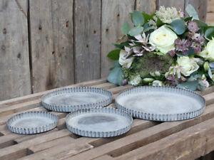 Round Grey Zinc Tray Vintage Silver Xmas Wedding Tea Light Candle Holder Plate