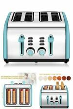 4 Slice Toaster Electric Retro Vintage Wide Slots Bread Browning Settings Blue